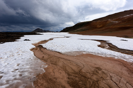 Geothermal valley Leirhnjukur, near Krafla volcano, Iceland, Europe.