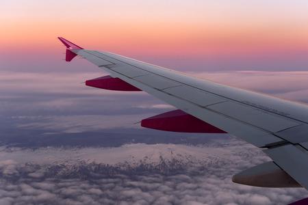 trip over: view through airplane window Stock Photo