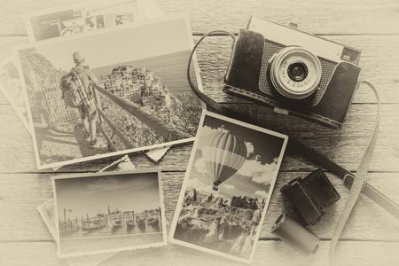 Fotografie Konzept mit alten Kamera und Fotos photo