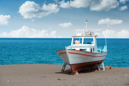 white boat on beach closeup Stock Photo