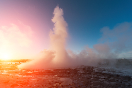 Erupting of Geysir geyser in southwestern Iceland, Europe.