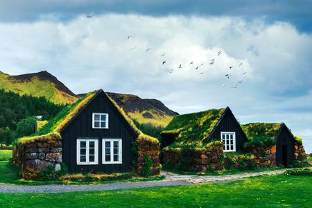 Traditionelle Häuser mit Gras auf dem Dach in Island