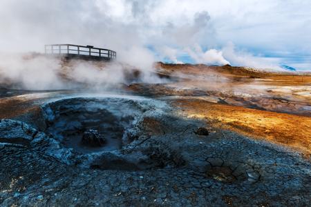 Smoking fumaroles on Hverarond valley, north Iceland, Europe. Lizenzfreie Bilder