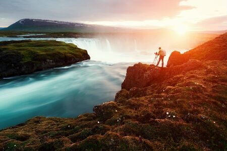 daybreak: Godafoss waterfall on Skjalfandafljot river, Iceland, Europe.