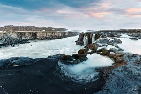 Famous Selfoss waterfall in evening time, Jokulsargljufur National Park, Iceland.