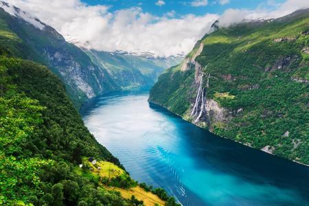 Breathtaking view of Sunnylvsfjorden fjord Stok Fotoğraf