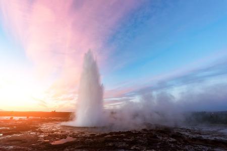 Erupting of Geysir geyser