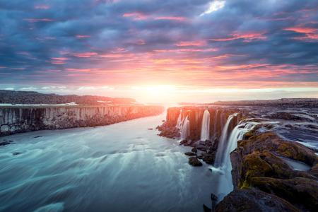 Famous Selfoss waterfall Lizenzfreie Bilder