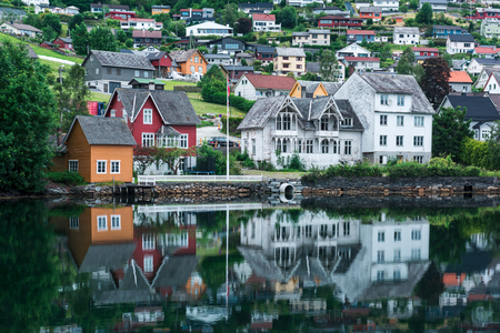 Cloudy summer view of Hardangerfjord Lizenzfreie Bilder