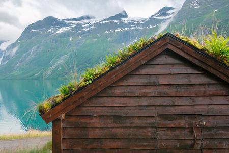 Traditional scandinavian old wooden houses Lizenzfreie Bilder