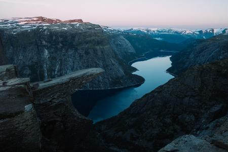 Breathtaking view of Trolltunga rock Lizenzfreie Bilder