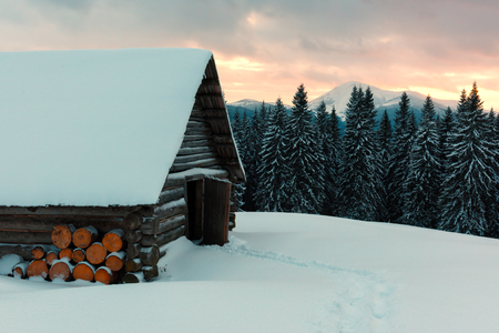Fantastic landscape with snowy house Stock Photo - 87168912