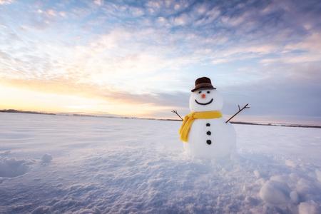 Grappige sneeuwman in zwarte hoed Stockfoto