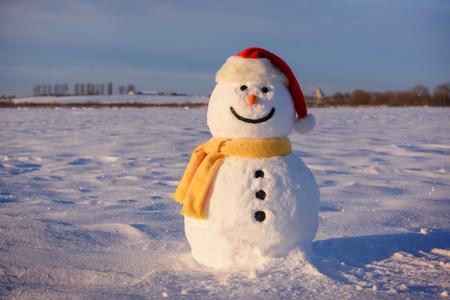 Funny snowman in Santa hat Zdjęcie Seryjne - 88966771