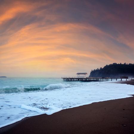 Summer arbor on beach Standard-Bild