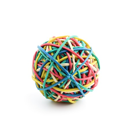 Colored rubber ball isolated on white background Standard-Bild