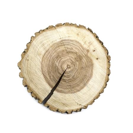 Round wooden cut board isolated on white background Standard-Bild