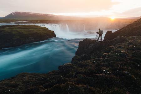 Colorful sunrise on Godafoss waterfall on Skjalfandafljot river, Iceland, Europe Stock Photo