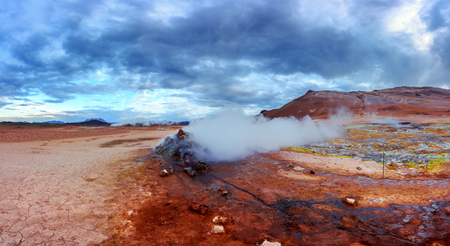 Smoking fumaroles on Hverarond valley, north Iceland, Europe. Landscape photography