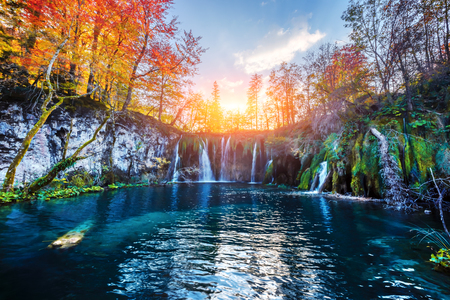 Amazing waterfall with pure blue water in Plitvice lakes.