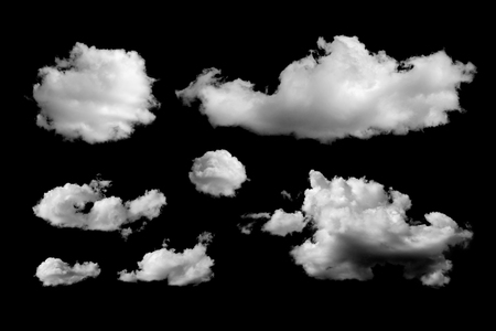 Set of different clouds isolated on black