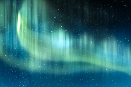 Aurora borealis. Northern lights in winter mountains. Sky with polar lights and stars Zdjęcie Seryjne