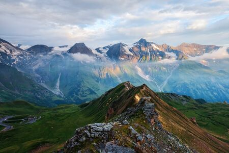 Picturesque sunrise on the top of Grossglockner pass, Swiss Alps mountains. Landscape photography Standard-Bild - 130760041