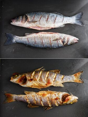 Raw and grilled sea bass fish on black plate. Before and after preparation. Food photography Foto de archivo - 130760266