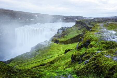 Splendid view of Dettifoss - most powerful waterfall in Europe. Jokulsargljufur National Park, Iceland. Landscape photography Stok Fotoğraf