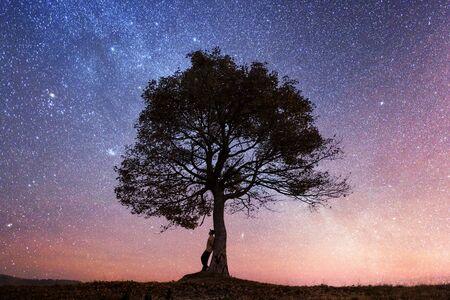 Silhouette des Touristen, der bei Sonnenuntergang unter einem majestätischen Baum auf der abendlichen Bergwiese sitzt. Dramatische bunte Szene mit klarem orangefarbenem Himmel. Landschaftsfotografie