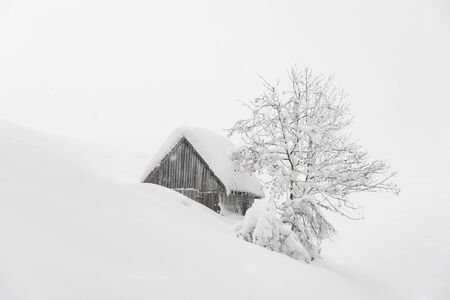 Fantastic winter landscape with wooden house in snowy mountains. Christmas holiday concept 版權商用圖片