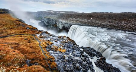 Panoramical view of famous Dettifoss waterfall in Jokulsargljufur National Park, Iceland, Europe. Landscape photography