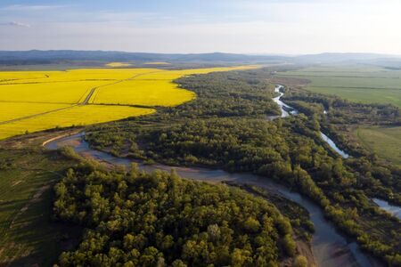 Flight through majestic river Dnister, lush green forest and blooming yellow rapeseed fields at sunset time. Ukraine, Europe. Landscape photography