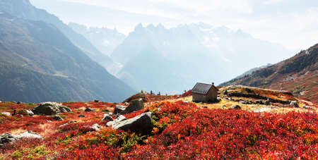Amazing view on Monte Bianco mountains range with cabin on a foreground. Vallon de Berard Nature Preserve, Chamonix, Graian Alps. Landscape photography