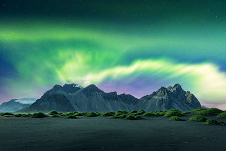 Aurora borealis Northern lights over black sand desert dunes and grassy bumps near famous Stokksnes mountains  Vestrahorn cape, Iceland. Landscape photography. Courtesy of . Photo collage