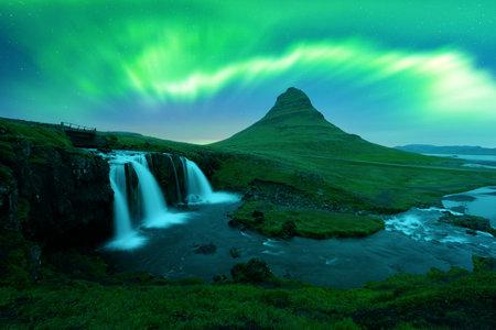 Aurora borealis Northern lights over Kirkjufellsfoss waterfall. Amazing night scene near Kirkjufell volkano, Iceland. Landscape photography. Courtesy of . Photo collage