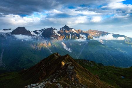 Amazing sunrise on the top of Grossglockner pass, Swiss Alps, Switzerland, Europe. Landscape photography