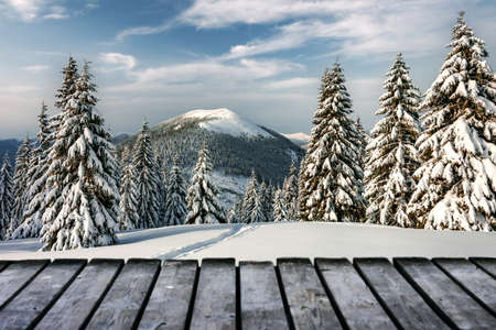 Fantastic winter landscape with snowy trees and wooden terrace. Carpathian mountains, Ukraine, Europe. Christmas holiday concept