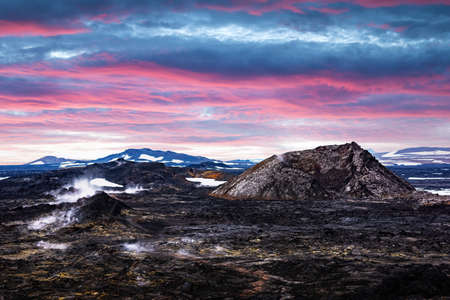 Incredible sunset view of Reeky lavas field in the geothermal valley Leirhnjukur, near Krafla volcano, Iceland. Landscape photography