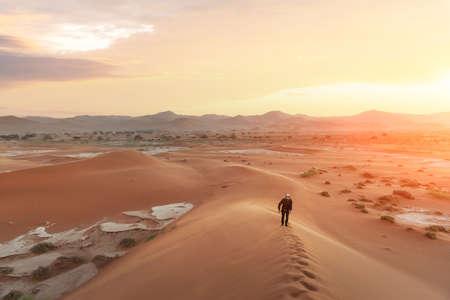 Single man on high dune in the Namib desert