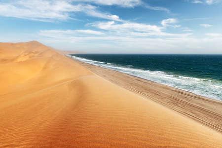 Namib desert and Atlantic ocean waves