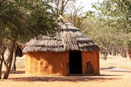 Closeup of traditional hut of himba people