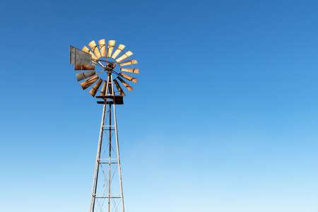 Old rusty wind turbine closeup