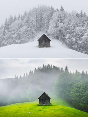 Collage of two images of a wooden cabin in the forest