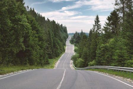 Curvy mountain road serpentine in green summer forest