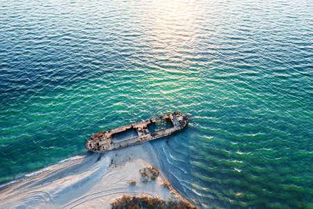 Old shipwreck reinforced concrete barge 版權商用圖片