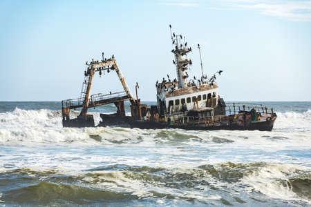 The shipwreck in the Atlantic ocean