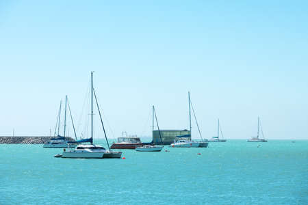 Waves on adriatic sea behind the yachts 版權商用圖片