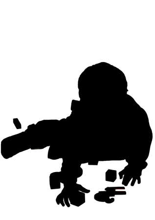 silhouetted: silhouetted boy playing or reaching