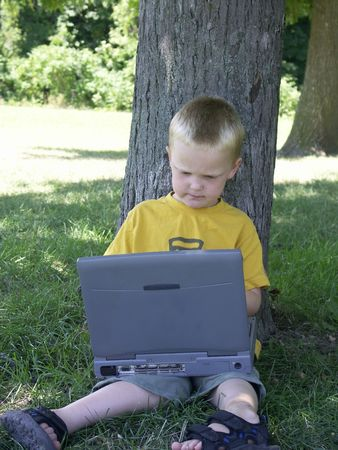 powerbook: child and laptop